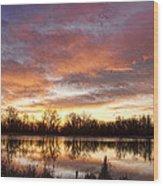 Crane Hollow Sunrise Reflections Wood Print