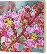 Crape Myrtle Blank Greeting Card Wood Print