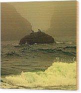 Crashing Waves And Fog Wood Print