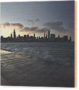 crashing waves at sunset in Chicago Wood Print