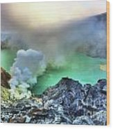 Crater Ijen Wood Print