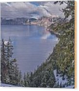 Crater Lake And Approaching Clouds Wood Print