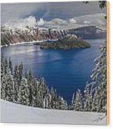 Crater Lake And Fresh Snow Panorama Wood Print