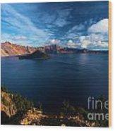 Crater Lake Minus Trees Wood Print