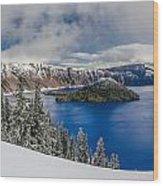 Crater Lake Panorama 1 Wood Print