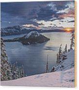 Crater Lake Snow Sunrise Wood Print