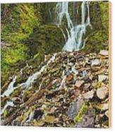 Crater Lake Waterfall Wood Print
