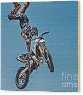 Crazy Motorcycle Rider Wood Print