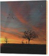 Created Sunset Wood Print