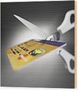 Credit Card Debt Wood Print by Tek Image