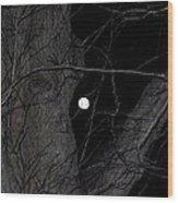 Creepy Tree And Full Moon Wood Print