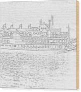 Creole Queen Sketch Wood Print