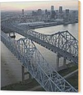 Crescent City Connection Bridge Wood Print by Tyrone Turner