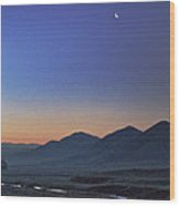 Crescent Moon And Yokohl Creek Wood Print
