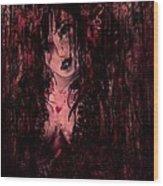 Crimson Torn Lace Wood Print
