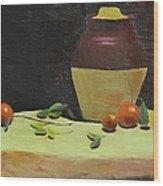 Crock With Fruit Wood Print