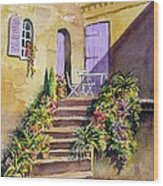 Crooked Steps And Purple Doors Wood Print