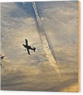Crop Duster Under The Jet Trail Wood Print