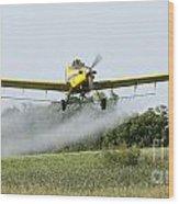 Crop Dusting Plane In Action Wood Print