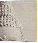 Cropped Stone Buddha Head Statue Wood Print by Lyn Randle