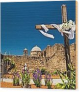 Cross At Mission San Jose Texas Wood Print