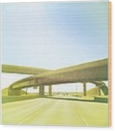 Cross Bridge Over Road Wood Print by A L Christensen