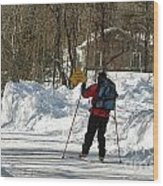 Cross Country Skier On Cape Cod Wood Print