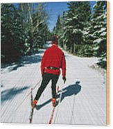 Cross-country Skiing, Lake Placid, New Wood Print