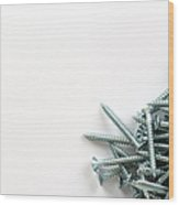 Cross-head Wood Screws On A White Abckground Wood Print