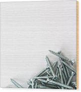 Cross-head Wood Screws On A White Background Wood Print