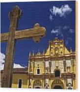 Cross Outside San Cristobal De Las Wood Print