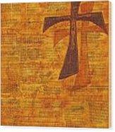 Cross Purple With Yellow Wood Print