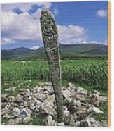 Cross Slab, Dingle Peninsula, Co Kerry Wood Print by The Irish Image Collection