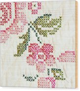 Cross Stitch Flower 1 Wood Print