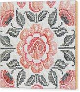 Cross Stitch Roses Wood Print