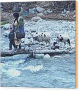 Crossing The Ourika River Wood Print