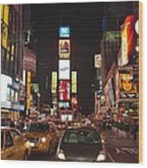 Crossing The Street At Times Square At Night Wood Print