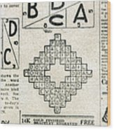 Crossword Puzzle, 1913 Wood Print