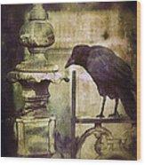 Crow On Iron Gate Wood Print