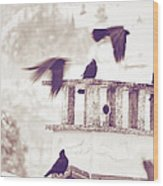 Crows On A Roof Wood Print by Silvia Ganora