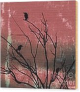 Crows The Watcher Wood Print by Sacred  Muse