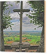 Crucifix Overlooking The French Countryside Wood Print