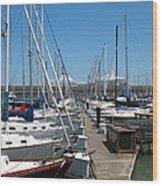 Cruise Ship And Sailboats Pier 39 Wood Print