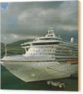 Cruise Ship In Port Wood Print