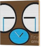 Crying Monkey In Clock Faces Wood Print