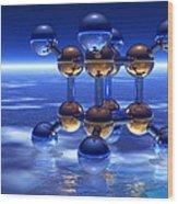 Cubane Molecule Wood Print by Laguna Design