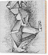 Cubist Man Wood Print