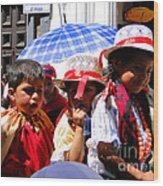 Cuenca Kids 187 Wood Print by Al Bourassa