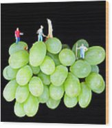 Cultivation On Grapes Wood Print by Paul Ge