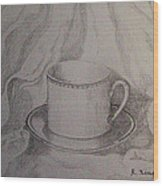 Cup And Saucer On Material Wood Print